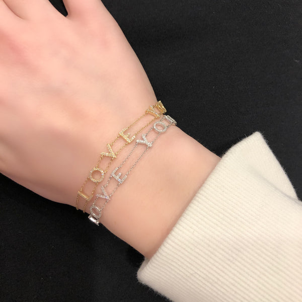"14K GOLD DIAMOND ""LOVE YOU"" BRACELET"