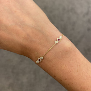 14K GOLD DIAMOND AND RUBY ZIVA BRACELET