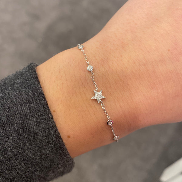 14K GOLD DIAMOND SABRINA STAR BRACELET