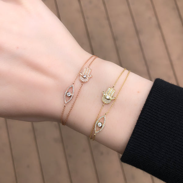 14K GOLD DIAMOND SOPHIA HAMSA AND EYE BRACELET