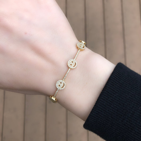14K GOLD DIAMOND EMMA SMILES BRACELET
