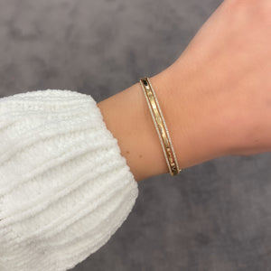 14K GOLD DIAMOND KARA BANGLE
