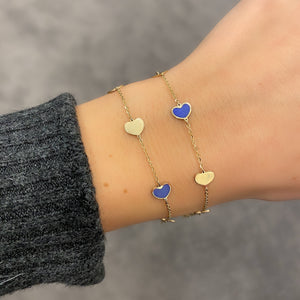 14K GOLD AND BLUE SMALL MEGAN HEART BRACELET