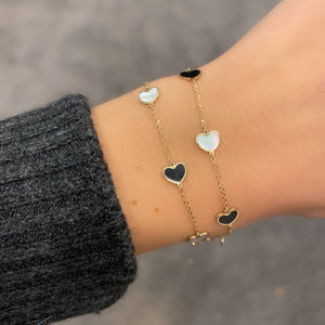 14K GOLD MOTHER OF PEARL AND BLACK SMALL MEGAN HEART BRACELET