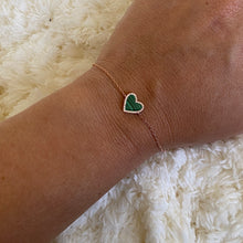 14K GOLD DIAMOND MALACHITE HAILEY HEART BRACELET