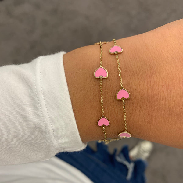 14K GOLD AND PINK SMALL MEGAN HEART BRACELET