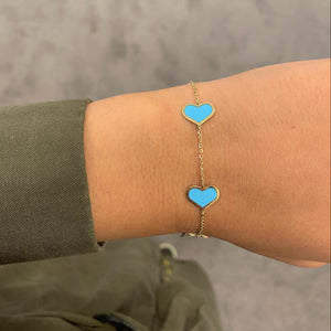 14K GOLD TURQUOISE LARGE MEGAN HEART BRACELET
