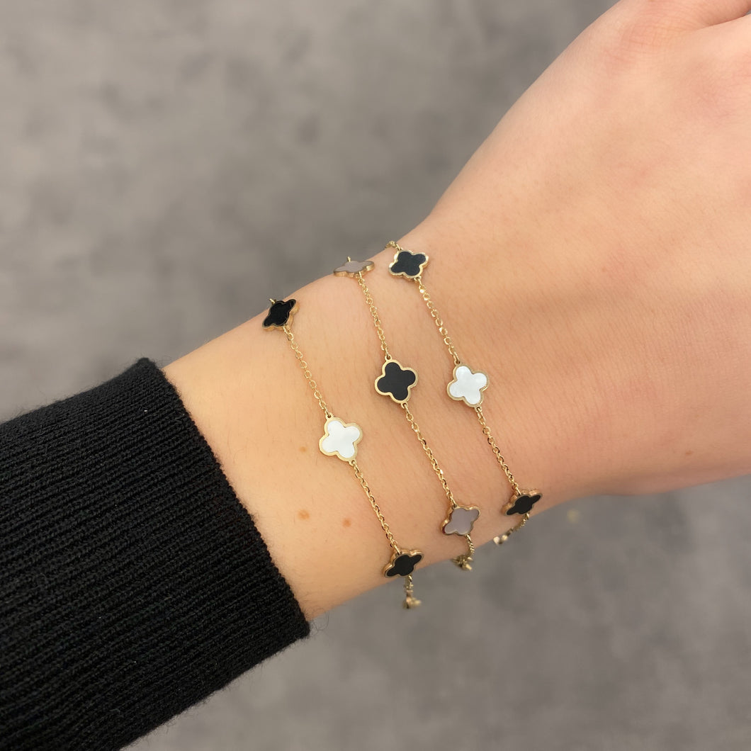 14K GOLD MOTHER OF PEARL AND ONYX SMALL MEGAN CLOVER BRACELET