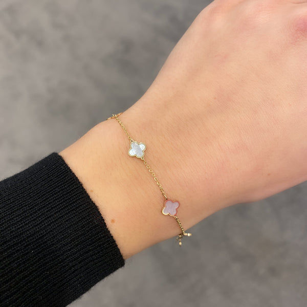14K GOLD MOTHER OF PEARL SMALL MEGAN CLOVER BRACELET