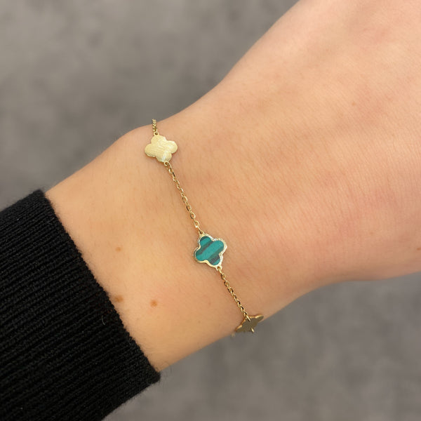 14K GOLD AND MALACHITE SMALL MEGAN CLOVER BRACELET