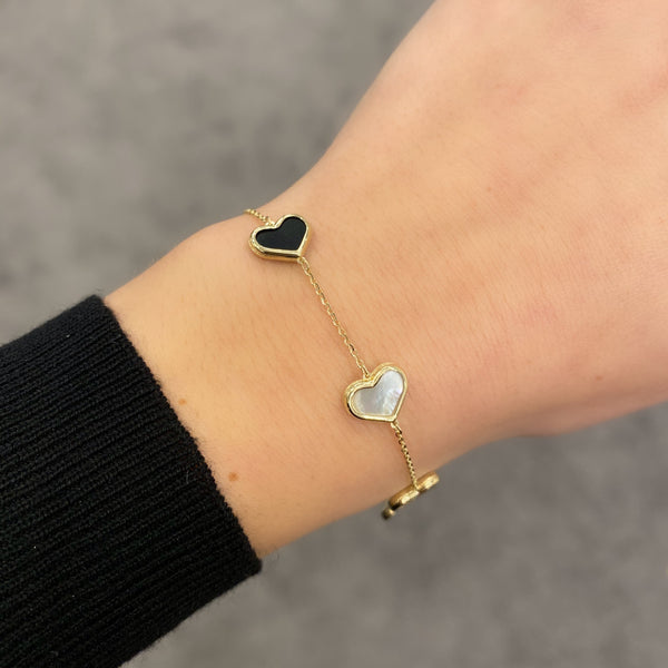 14K GOLD BLACK AND WHITE LARGE MEGAN HEART BRACELET