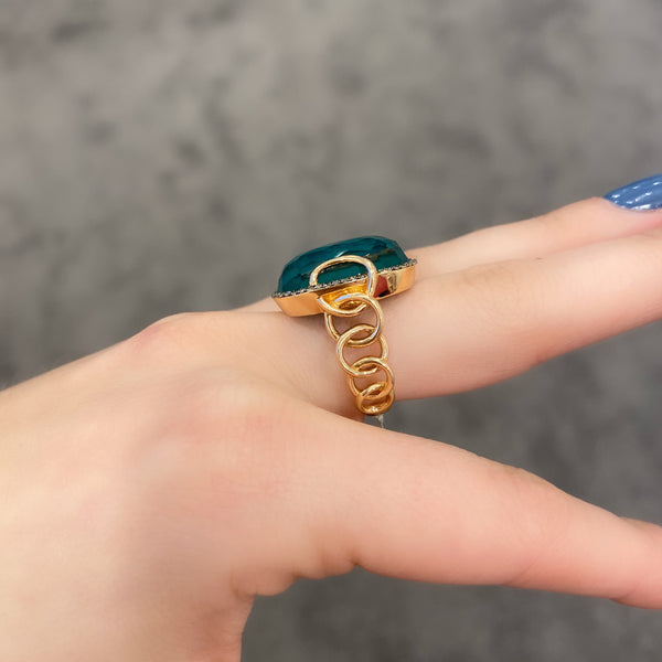 14K ROSE GOLD DIAMOND EMERALD ARIANA RING