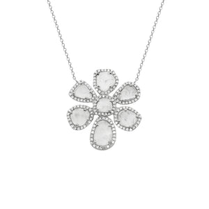 14K GOLD DIAMOND SLICE SAGE FLOWER NECKLACE