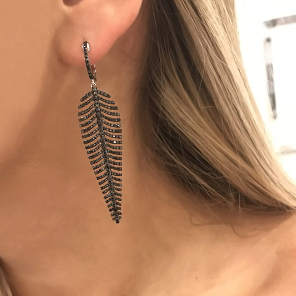 14K GOLD DIAMOND BLACK FEATHER EARRINGS