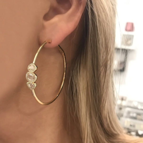 14K GOLD DIAMOND DELILAH HOOPS
