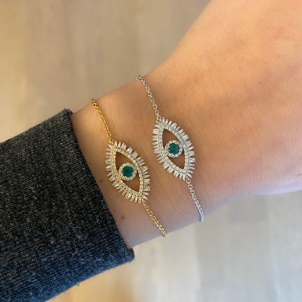 14K GOLD DIAMOND EMERALD MIRIAM EYE BRACELET