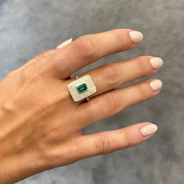 14K GOLD DIAMOND AND EMERALD CAMILA RING