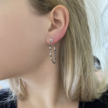 14K GOLD BLACK AND WHITE DIAMOND MANDY HOOPS