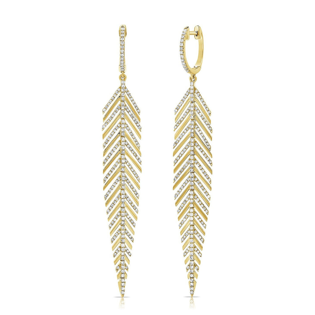 14K GOLD DIAMOND BEXLEY FEATHER EARRINGS