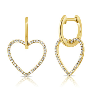 14K GOLD DIAMOND DEMI HANGING HEART HUGGIES