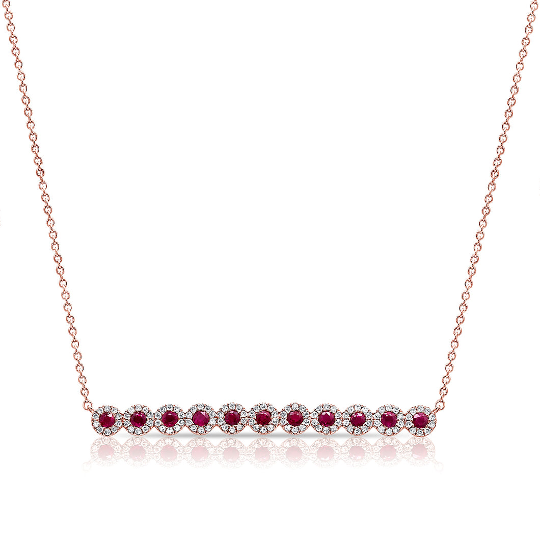 14K GOLD DIAMOND SARI RUBY NECKLACE