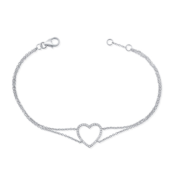 14K GOLD DIAMOND ARIANA HEART BRACELET