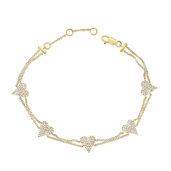 14K GOLD DIAMOND JENNY HEART BRACELET