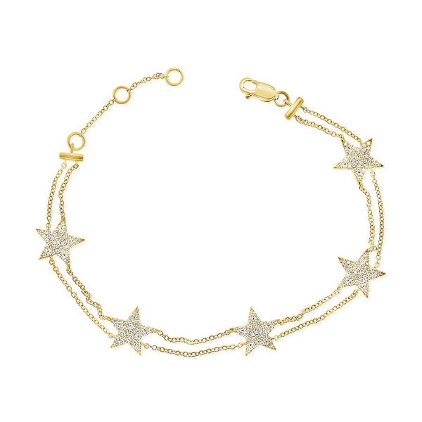 14K GOLD DIAMOND JENNY STAR BRACELET
