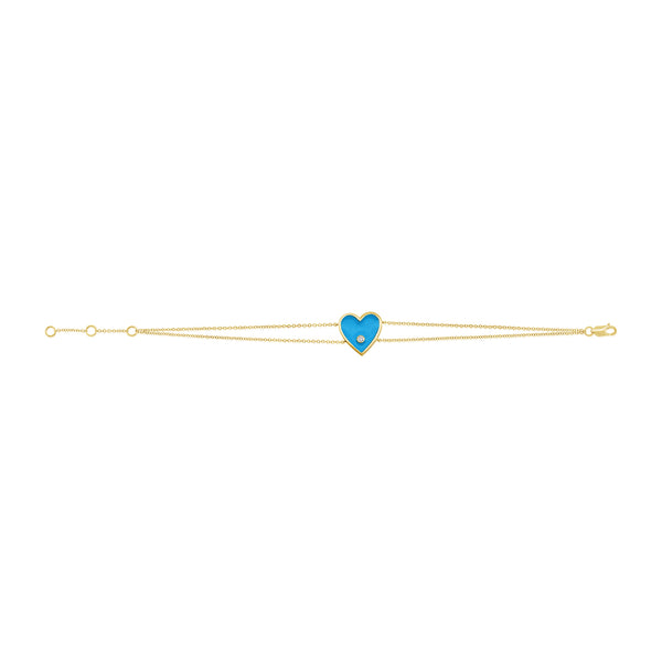 14K GOLD DIAMOND TORI HEART BRACELET
