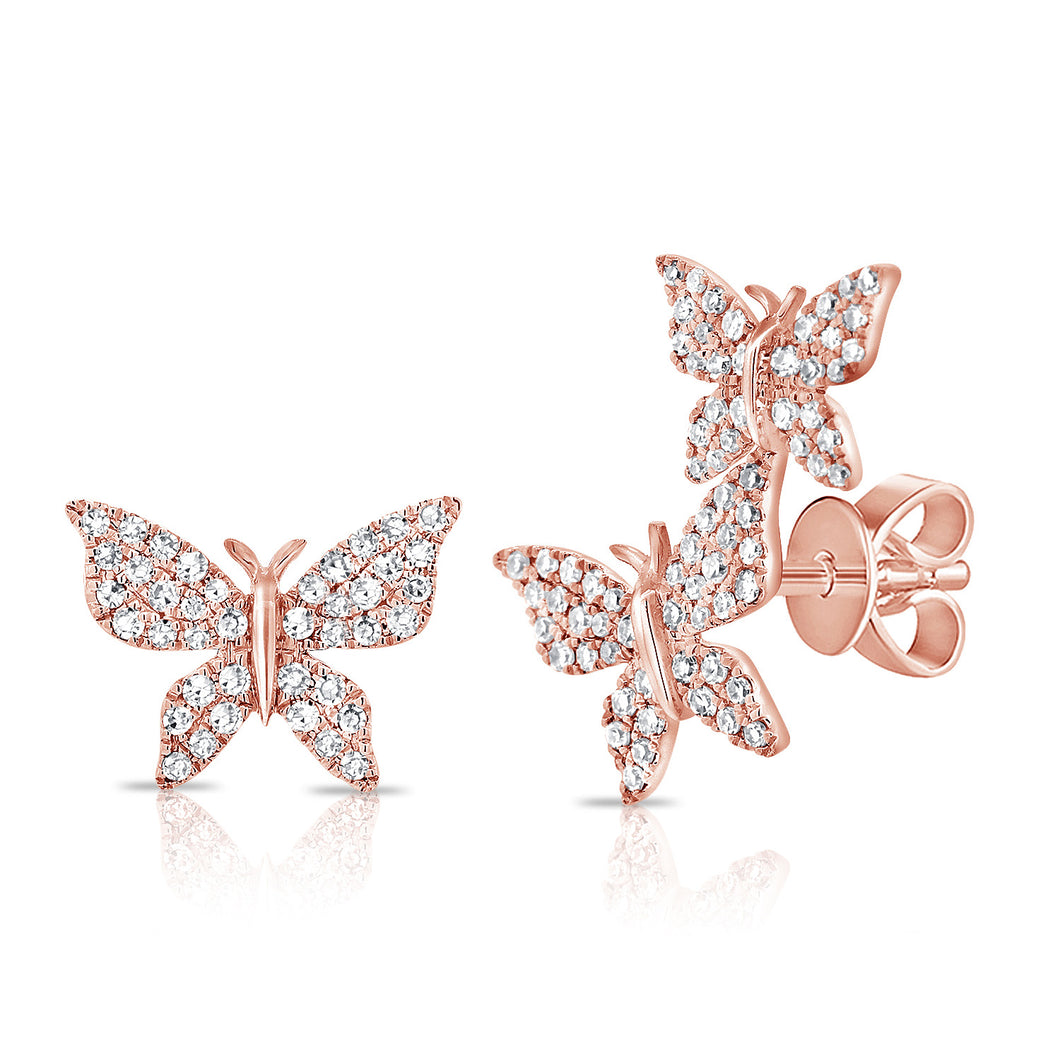 14K GOLD DIAMOND LARGE BECCA BUTTERFLY STUDS