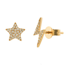 14K GOLD DIAMOND STAR AND LIGHTNING STUDS