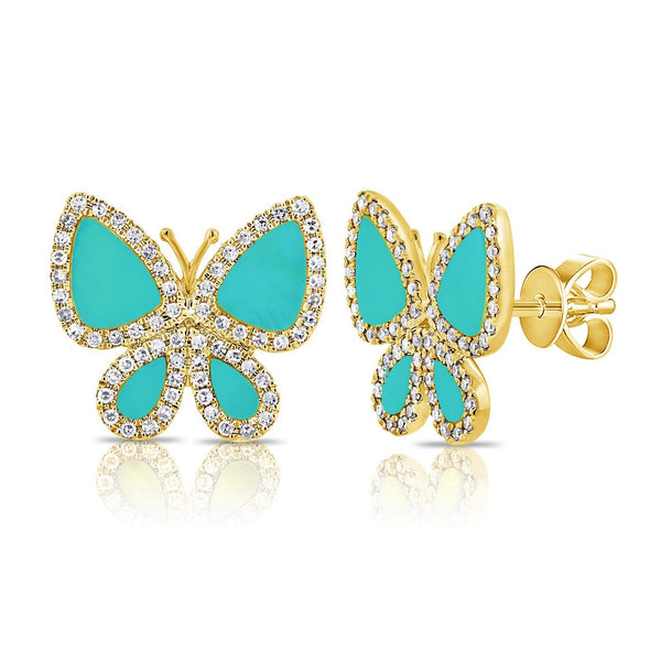 14K GOLD DIAMOND AND TURQUOISE HEIDI BUTTERFLY STUDS