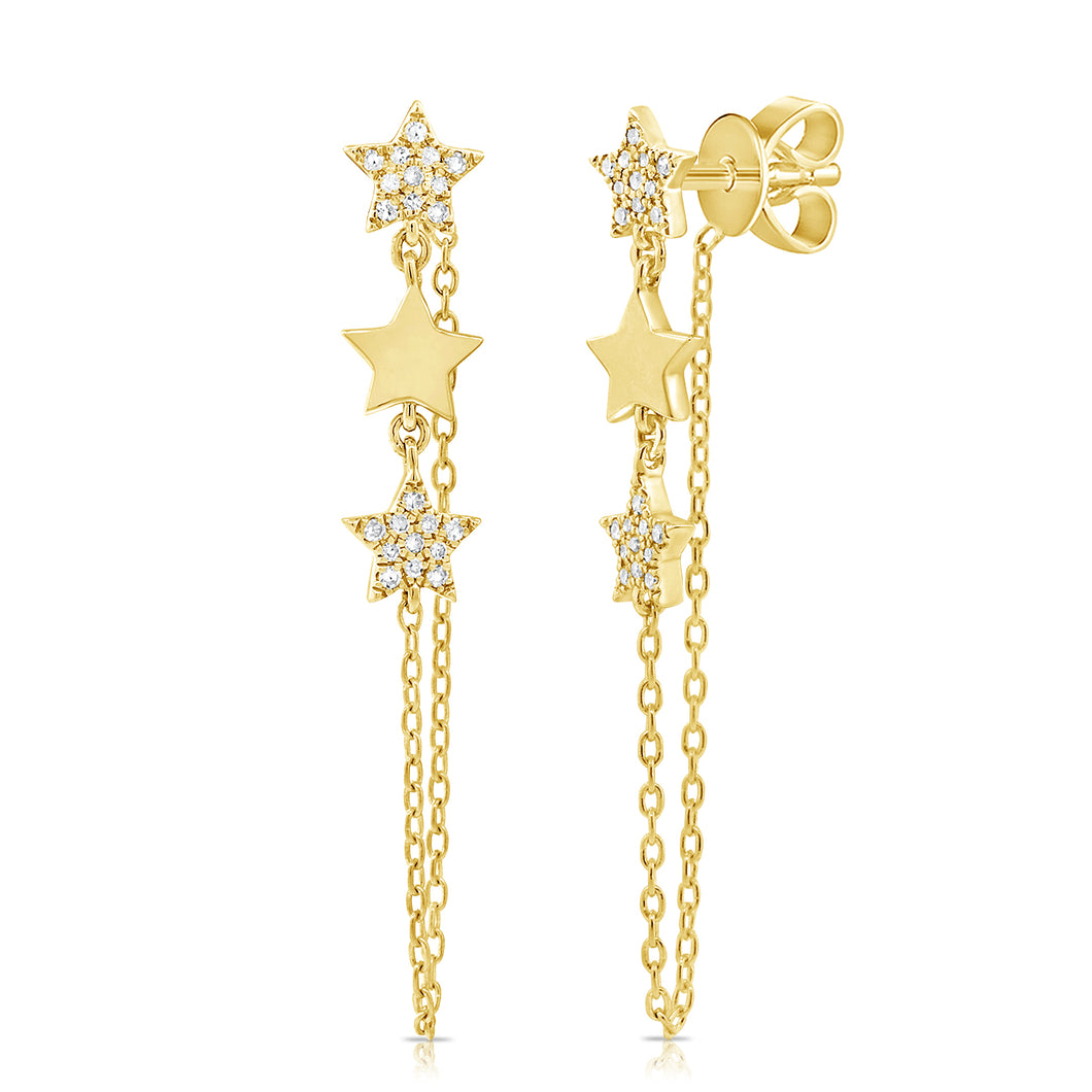 14K GOLD DIAMOND CARDI STAR EARRINGS