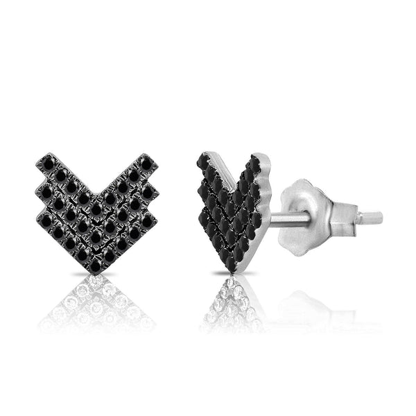 14K GOLD BLACK DIAMOND VERA STUDS