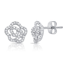 14K GOLD DIAMOND MINI CAMILIA FLOWER STUDS