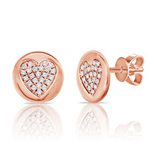 14K GOLD DIAMOND DARA HEART STUDS