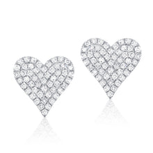 14K GOLD DIAMOND LARGE JANINE HEART STUDS