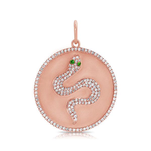 14K ROSE GOLD DIAMOND MATTE SNAKE CHARM