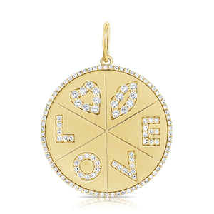 14K GOLD DIAMOND LOVE CHARM