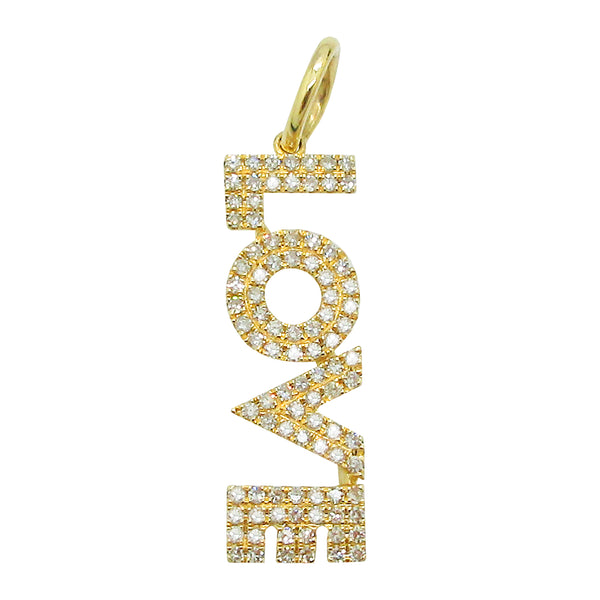 14K YELLOW GOLD DIAMOND LOVE CHARM