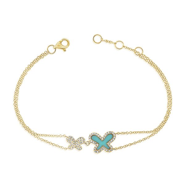 14K GOLD DIAMOND DOUBLE AVA BRACELET