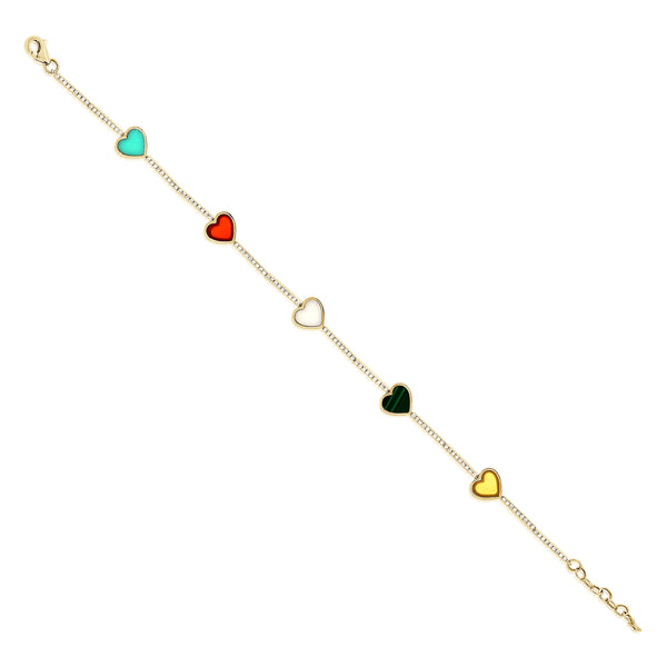 14K GOLD DIAMOND ELYSE MULTICOLOR HEART BRACELET