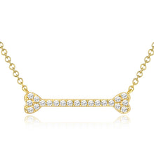 14K GOLD DIAMOND DOG BONE NECKLACE