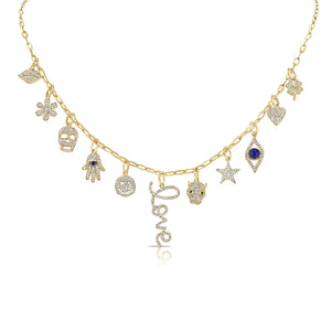 14K GOLD DIAMOND FELICITY CHARM NECKLACE