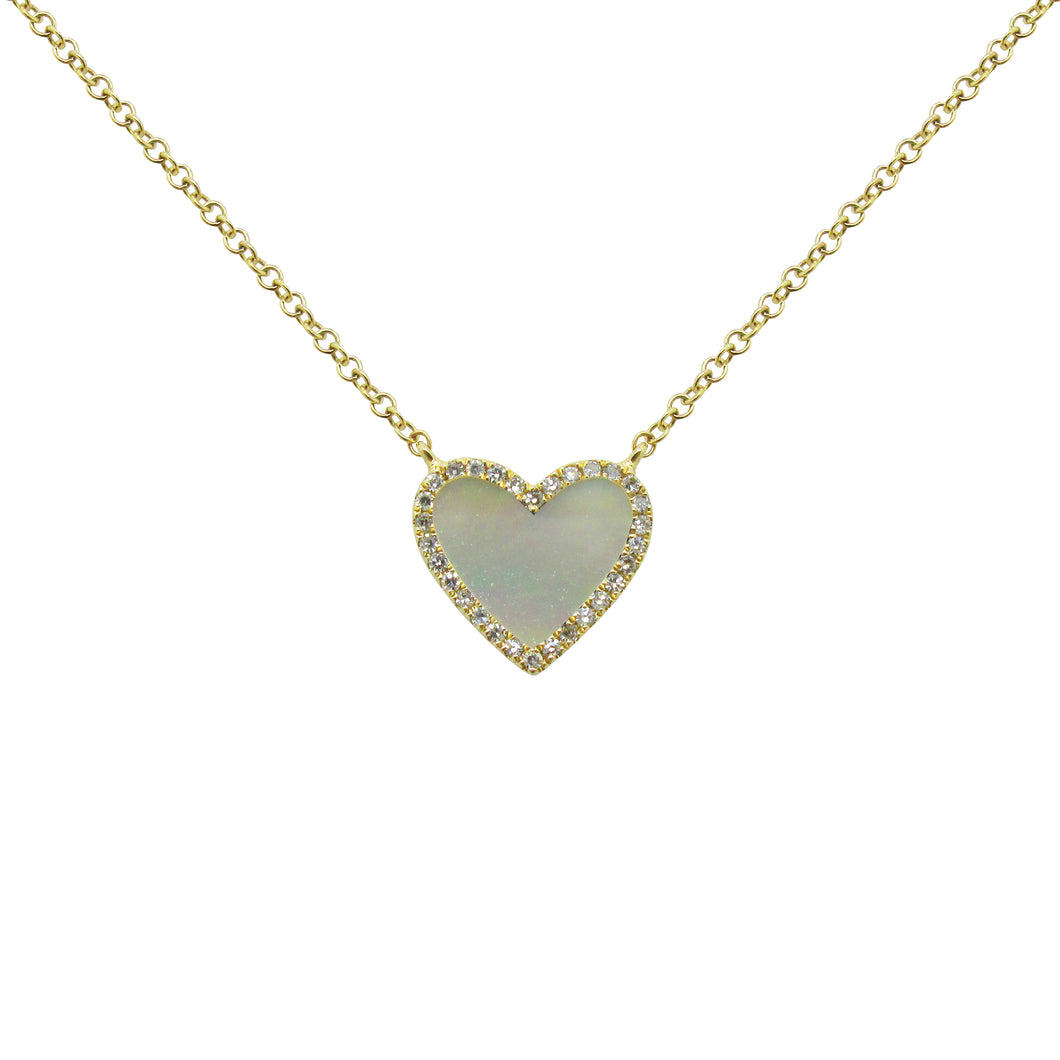 14K GOLD DIAMOND MOTHER OF PEARL SMALL HAILEY NECKLACE