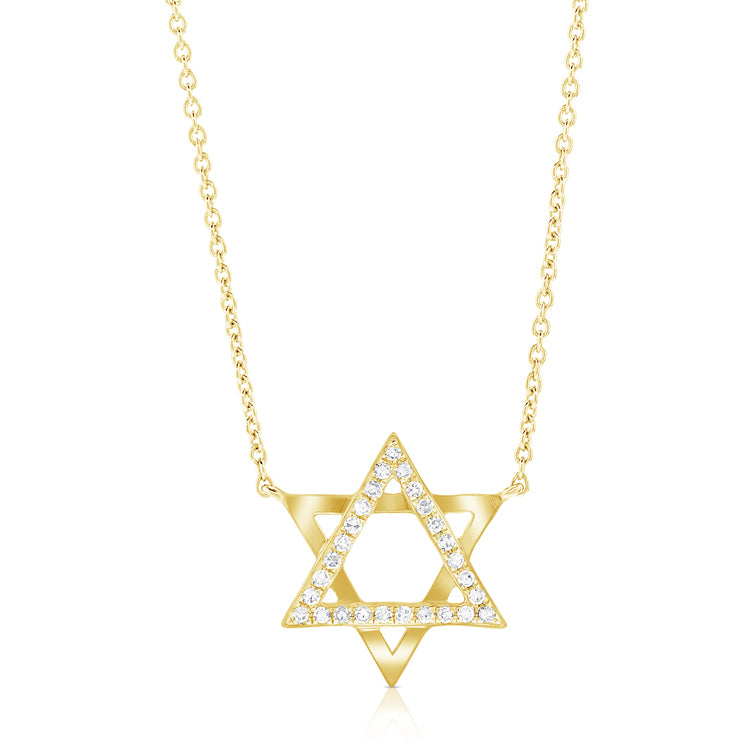 14K GOLD DIAMOND STAR OF DAVID NECKLACE