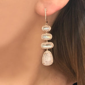14K GOLD DIAMOND LIZZIE MOONSTONE EARRINGS