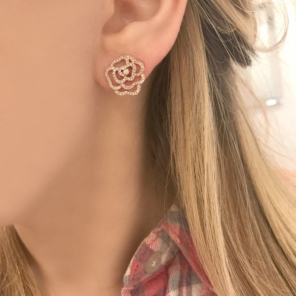 14K ROSE GOLD DIAMOND LARGE CAMILIA FLOWER STUDS