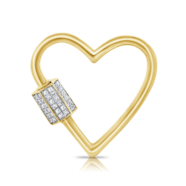 14K YELLOW GOLD DIAMOND CUT OUT HEART CHARM