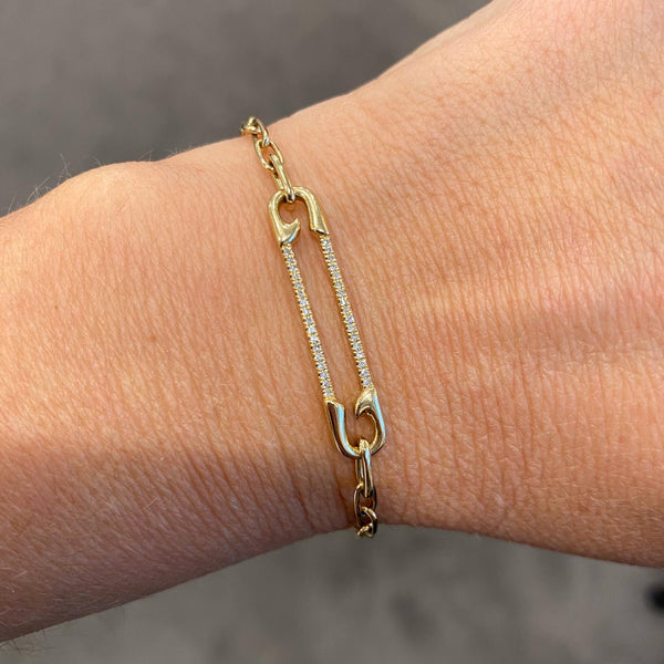 14K GOLD DIAMOND CICI SAFETY PIN BRACELET